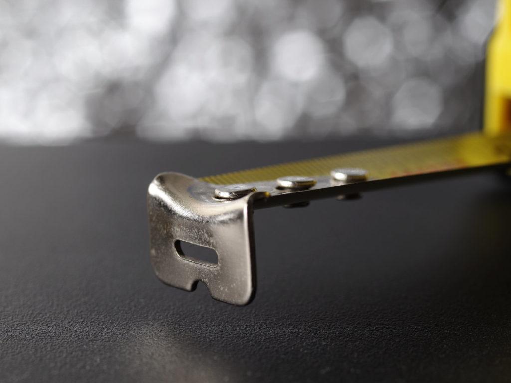 Tool Bench Hardware Tape Measure From Dollar Tree, Hook Detail