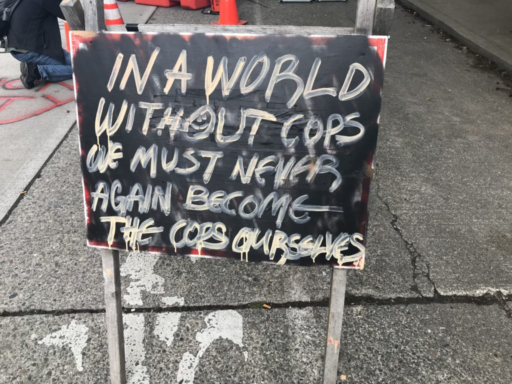 In A World Without Cops Sign CHAZ