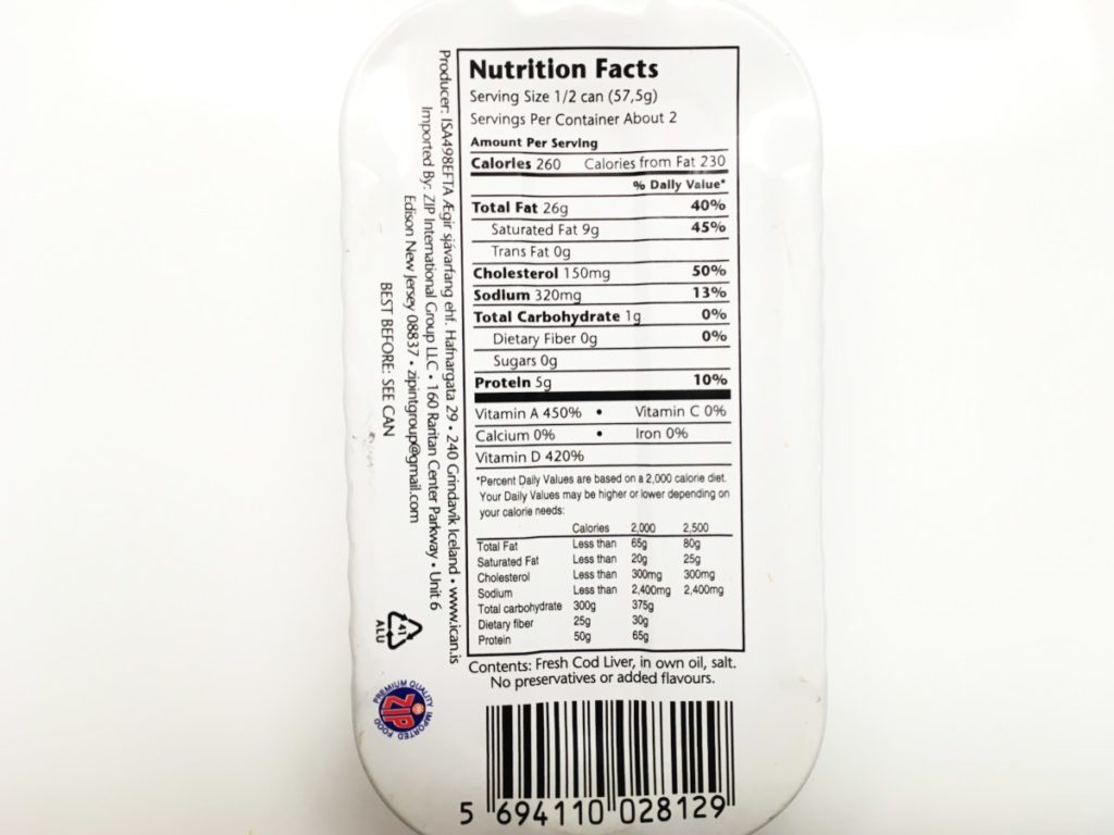 Canned Cod Liver Nutrition Facts