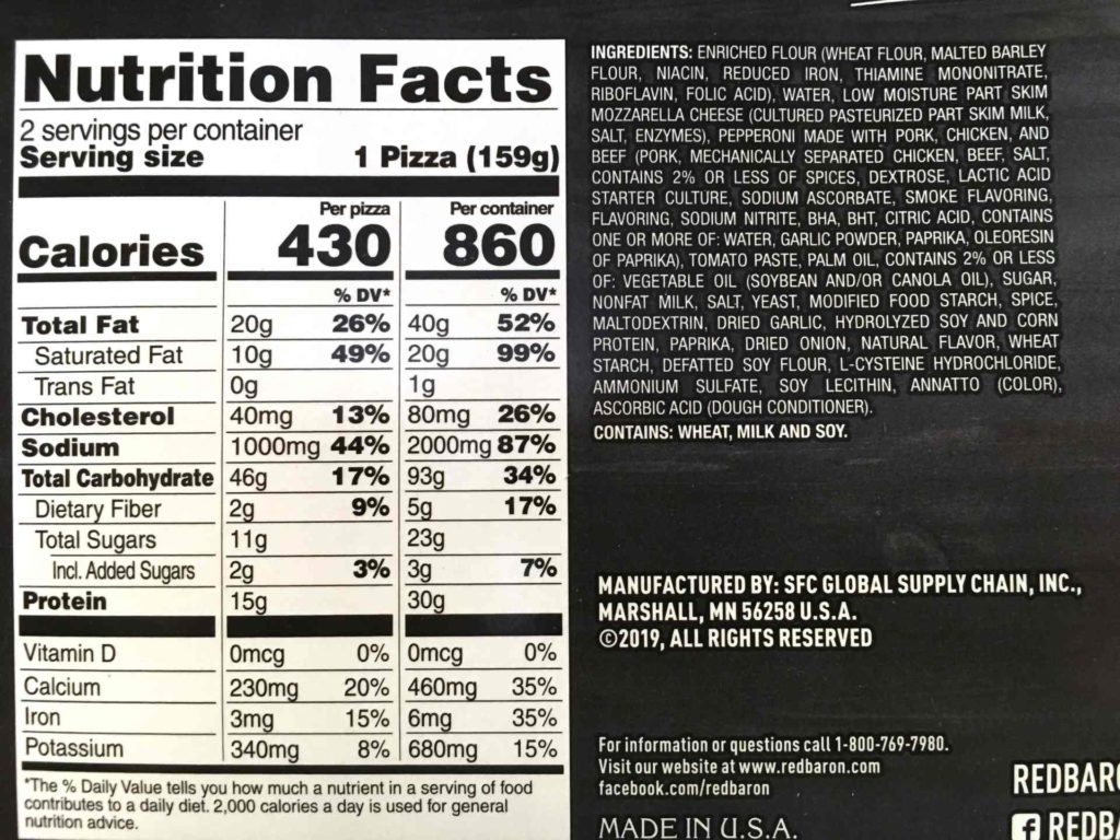 Red Baron Deep Dish Pizza Nutrition and Ingredients